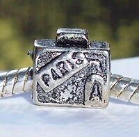 Paris Suitcase Travel France Trip Luggage Spacer Charm for European Bracelets