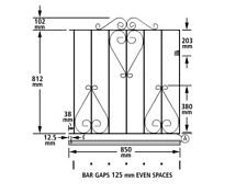Classic3 Scroll Garden Gates 914mm Gap X High Metal Iron Gate