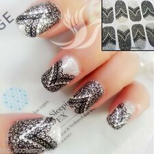 3D Sparkly Black Lace Nail Art Wrap Full Cover Sticker #06049 Free P&P