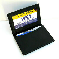 Black Men's Bifold Leather Wallet Window ID Thin Credit Cards Minimal Holder 202