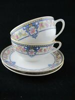 Hutschenreuther Yale CUP and SAUCER Set of 2 Selb Bavaria Blue Scroll