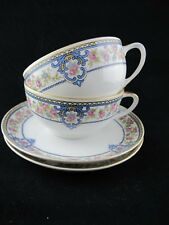 Hutschenreuther Yale CUP & SAUCER Selb Bavaria Blue Scroll w Pink Roses Set of 2
