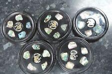 Vintage CRYSTAL CRAFT Marine Opal Abalone Shell Drinks Coasters x5  Australia
