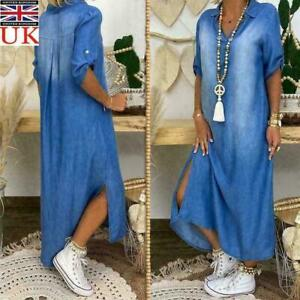 Womens Casual Denim Long Maxi Dress Ladies Summer Loose Jeans Sundress Plus Size