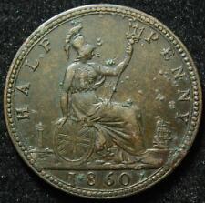Victoria bronze halfpenny 1860 beaded border
