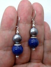 Bold Blue Lapis Lazuli W. Black FWP Sterling Silver Earrings 0818