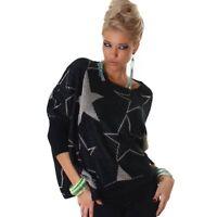 Maglione donna taglio asimmetrico girocollo stelle maniche lunghe nuovo