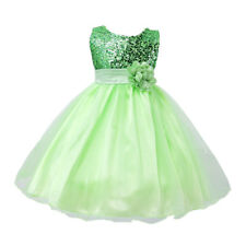 Flower Girl Princess Sequin Dress Birthday Wedding Party Ball Gown For Kid Girls