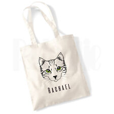 Personalised 'Cats eyes' Cat Canvas Tote Bag- GIFT FOR PET CAT OWNER