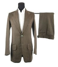 Vintage Men's Bespoke Brown Striped 2 Piece Suit Meerut Cantt India Size 38