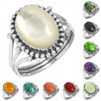 925 Sterling Silver Gemstone Ring Handmade Jewelry Size 5 6 7 8 9 10 11 12 jJ955