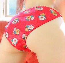VTG Floral 80s style poly SATIN Lace front Sissy string bikini panties S M L