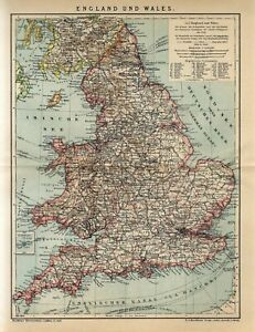 1905 ENGLAND and WALES ISLES OF SCILLY Antique Map dated