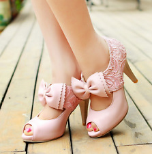 Womens High Heel Wedding Bowknot Lolita Mary Janes Dress Party Shoes PU leather