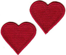 """2 RED HEARTS (1 1/2"""" x 1 1/4"""") - Iron On Embroidered Patch - Heart - Love"""