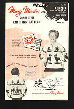 MARY MAXIM No 450 Graph-style Pattern REINDEER Boy/Girl Cardigan sz8-12 ©1957