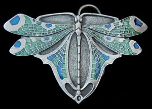 BEAUTIFUL DETAILED DRAGONFLY BELT BUCKLE BERGAMOT PEWTER US MADE NEW