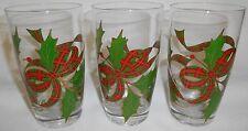 Set (3) Nice Quality 16 oz CHRISTMAS RIBBON & HOLLY Glass Tumblers