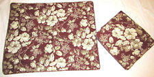 2 Laura Ashley Brompton Maroon Taupe White Rose Floral Standard Pillow Shams New