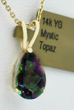MYSTIC TOPAZ  2.66 Cts  PENDANT 14K YELLOW GOLD ** New With Tag **