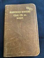 Antique ADVERTISING Detroit Pocket Calendar Michigan Leather 1923 Unused COAL