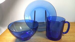 SAPHIR Cobalt Blue Glass Plates Bowls Mugs Buy by the Piece Arcoroc France