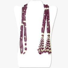 Faceted Ruby Beads Lariat Necklace with Cultured Pearls