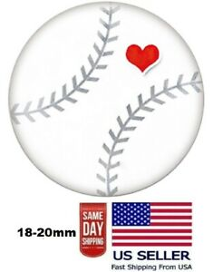Snap Jewelry Baseball Sports Heart 18-20mm Fits Ginger Style Charms Accessories