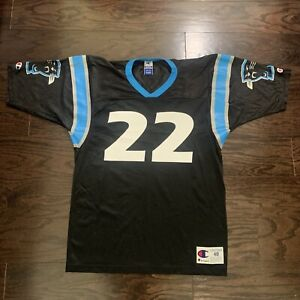 Vintage Champion Carolina Panthers NFL Football Jersey Christian McCaffrey Sz 48