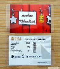 """0,1 Gramm PIM Goldbarren """"Schöne Weihnachtszeit"""" (0,10g Gold Barren Weihnachten)"""