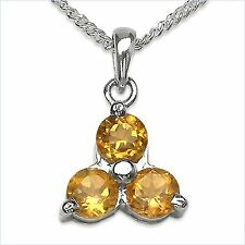 Collier/Halskette Citrin-Blume-Anhänger 925-Silber Rhodiniert