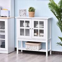 HOMCOM Modern Kitchen Sideboard Storage Cabinet w/Glass Door– White