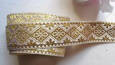 Jacquard Ribbon, 1 inch ivory/gold selling by the yard