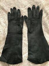 Vintage Women's Silk Lined Long Black Leather Gloves Size 7-7.5