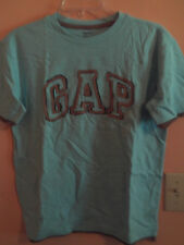 """NWT Gap Kids boy lite blue t-shirt w/brown trimmed """"GAP"""" logo; size XL"""