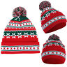 Women Christmas Beanie Snowflake Cap Winter Cable Knitted Ski Bobble Hats Xmas