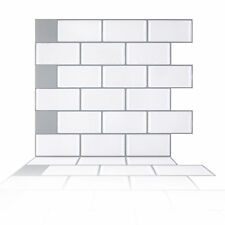 Peel and Stick Tile Kitchen Backsplash Mosaic Sticker White Brick Subway Tile