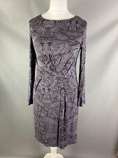 White Stuff Size 14 Iris Dusky Purple Grey Patterned Dress Long Sleeved Stretchy