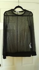 Style D'AMOUR size 12 long sleeved lace blouse in black