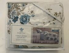 Duvet & Sham Bed Set - Simply Shabby Chic - Aqua Rose Floral - Blue, Twin - New