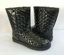 UGG CLASSIC SHORT QUILTED BLACK LEATHER BOOT US 6 / EU 37 / UK 4.5 NIB