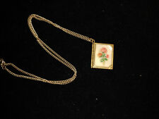 Vintage G/P Double Photo Book Locket w/ Mother of Pear & Roses !!