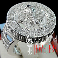 MENS REAL DIAMOND KING TUT EGYPTIAN PHARAOH PINKY BAND RING WHITE GOLD FINISH