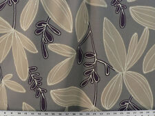 Drapery Upholstery Fabric Cotton Duck Abstract Floral / Leaf Design - Gray