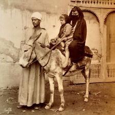 1880s Bonfils Ethnic Cabinet Photo Arabic Woman & Son On A Donkey