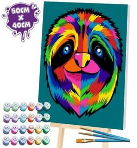 Splat Planet Sloth Paint By Numbers - Large Giant Framed Canvas DIY Art Set