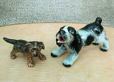 1970's Goebel W. Germany Dog Figurines Cocker Spaniel & Brown Puppy Dog