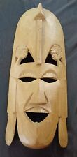 "24"" African Art Tribal Mask Maasai Warrior Made in Kenya Tribe Carved Wood"