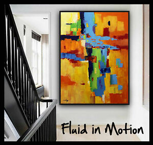 54x40 Original Large abstract painting wall art deco by Elsisy Blue Orange