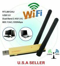 USB 3.0 1200Mbps Long Range AC1200 Dual Band 5GHz Wireless WiFi Adapter Antennas